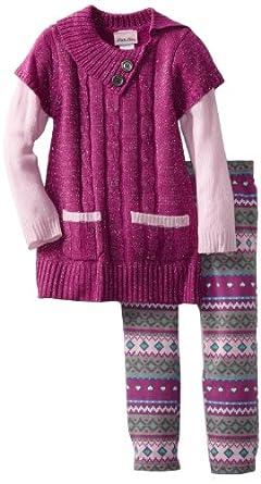 Little Lass Little Girls' 2 Piece Cable Sweater Set, Magenta, 4