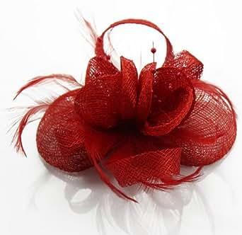Damen Rot Knotted Clover Style Elegant Fascinator KCMODE
