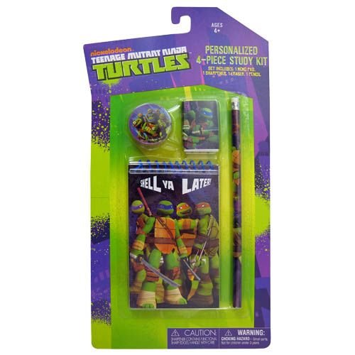 TMNT Personalized 4 Piece Study Kit, stationery School Gift Set, School Supplies with Note Pad, Pencil, Eraser & Sharpener