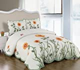3 Pieces 3D White, Green, and Yellow Sunflower with Butterfly Comforter/bed ....