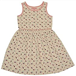 CrayonFlakes Kids Wear for Girls 100% Cotton Sleeveless Printed Frock Dress