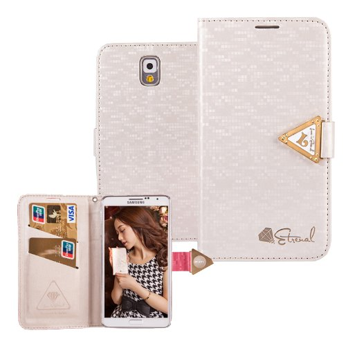 Moon Monkey Samsung Galaxy Series Bling Hight Quality Crystal Fashion Design Leather Wallet Type Magnet Design Flip Case Cover For Samsung Galaxy Note 3 (White)