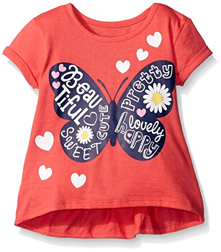 Gerber Graduates Girls Short Sleeve Swing Top with Back Ruffle, Butterfly, 2T