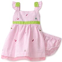 Baby Togs Baby-girls Infant Seersucker Sundress with Purse Schiffli, Pink, 12