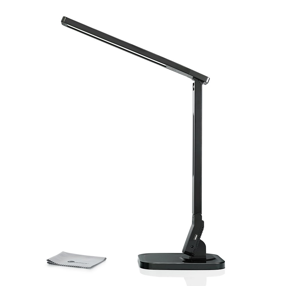 TaoTronics Dimmable Rotatable LED Desk Lamp(Black, 4 Lighting Modes, 5-Level Dimmer, Touch-Sensitive Control Panel, 1-Hour Auto Timer, 5V/2A USB Charging Port)
