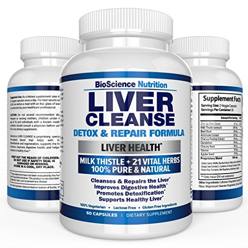 Liver Cleanse Support & Detox Supplement - 22 HERBS : Milk Thistle Extracts Silymarin, Beet, Artichoke, Dandelion, Chicory Root, Weight Loss Aid Herbal Health Supplements - BioScience Nutrition USA Fat Flush Kit