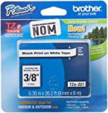 Brother Tape, Retail Packaging, 3/8 Inch, Black on White (TZe221) - Retail Packaging