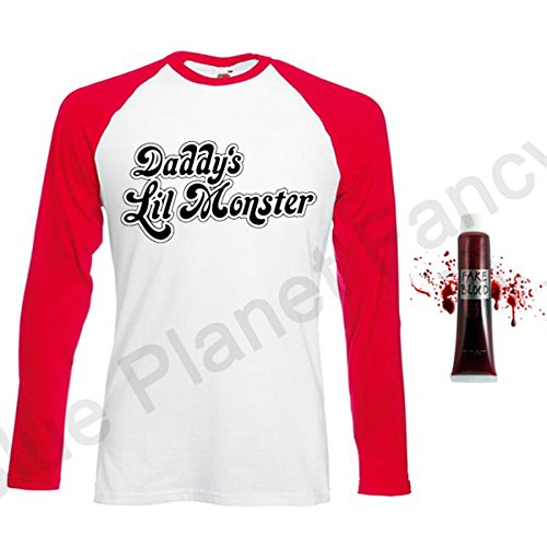 Blue Planet Fancy Dress ® Ladies Daddys Lil Monster Long Sleeved T Shirt Top & Fake Blood Tube Halloween (Women: 10-12)