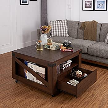 ioHOMES Clyde Industrial Coffee Table, Vintage Walnut