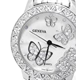 Bling Jewelry Geneva Stainless Steel Classic Butterfly Fashion Watch