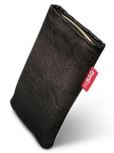 fitBAG Techno Schwarz Handytasche Tasche aus Textil-Stoff mit Microfaserinnenfutter für HTC One M8 (neues Modell April 2014)