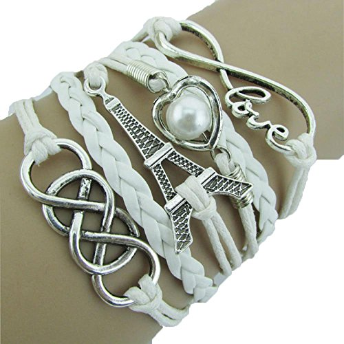 Usstore Women Lady LOVE Heart Eiffel Tower Friendship Charms Bracelet Jewelry (All Departments compare prices)