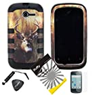 4 items Combo: ITUFFY(TM) LCD Screen Protector Film + Mini Stylus Pen + Case Opener + Outdoor Wild Deer Grass Camouflage Design Rubberized Hard Plastic + Black Soft Rubber TPU Skin Dual Layer Tough Hybrid Case for Huawei Ascend Y M866/ H866 / H866C (Straight Talk / U.S.Cellular)