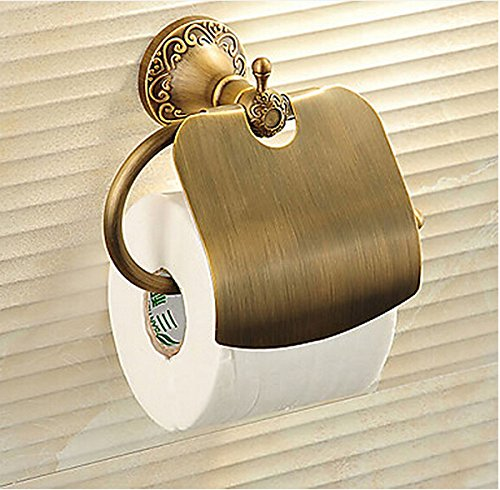 Rozinsanitary Solid Brass Retro Bathroom Toilet Paper Holder With Cover Antique Brass Wall-mounted