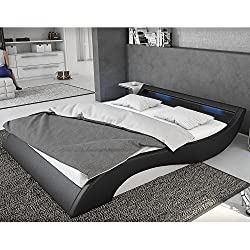 Polster-Bett 140x200 cm schwarz-weiß aus Kunstleder mit blauer LED-Beleuchtung | Mavani | Das Kunst-Leder-Bett ist ein edles Designer-Bett | Doppel-Bett 140 cm x 200 cm mit Lattenrost in Leder-Optik, Made in EU