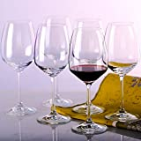 MKSA Crystal Goblets Red Wine Glasses, 15.3-Ounce, Set of 6