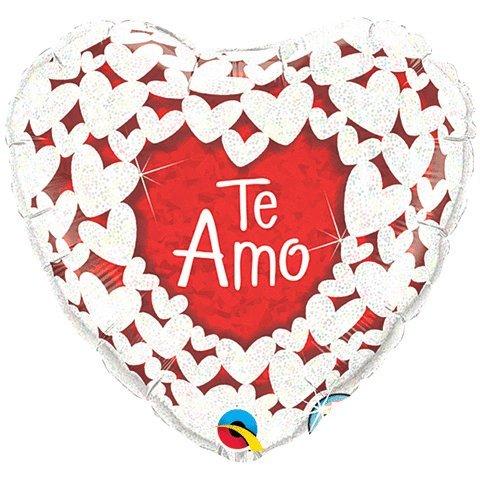 """18"""" Te Amo Glitter Hearts White Boarder - 1"""