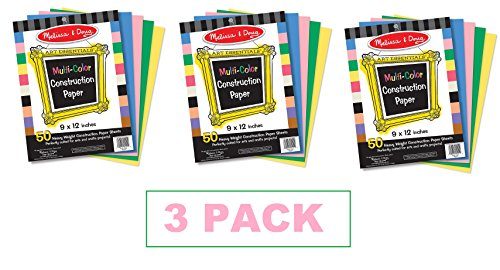 Melissa & Doug Multi-Color Construction Paper, 9-Inch x 12-Inch (3 PACK)