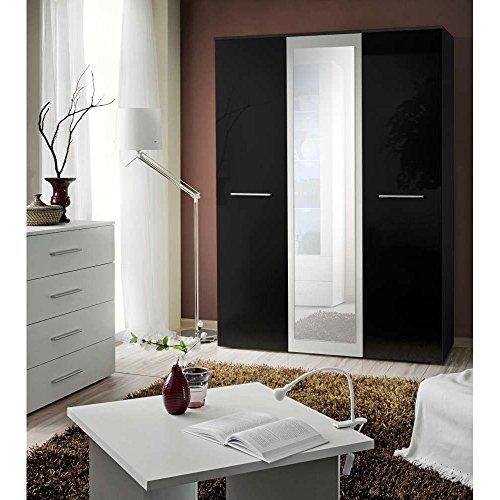 JUSThome-BIG-mit-Spiegel-Drehtrenschrank-Kleiderschrank-Garderobenschrank-HxBxT-190x135x55-cm-Schwarz-Wei-Matt-Schwarz-Hochglanz