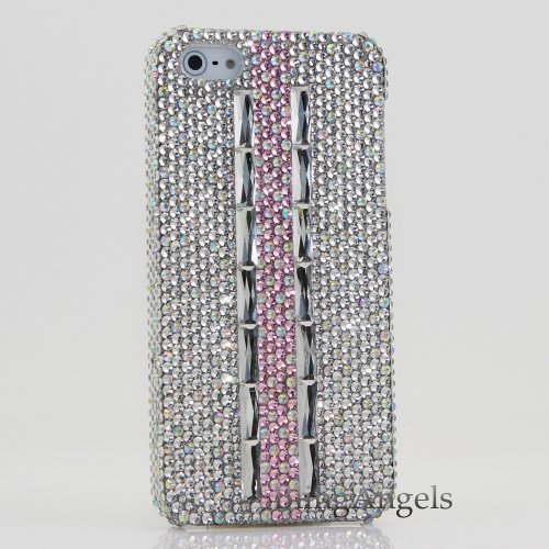 Special Sale Bling iphone 5 5S Case Cover Faceplate 3D Swarovski Luxury Diamond Case Cover Faceplace AB Crystal Design (100% Handcrafted by BlingAngels® with Carry Pink Pouch)