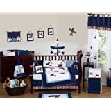 Red, White and Blue Vintage Aviator Airplane Plane Baby Boy Bedding 9 pc Crib Set