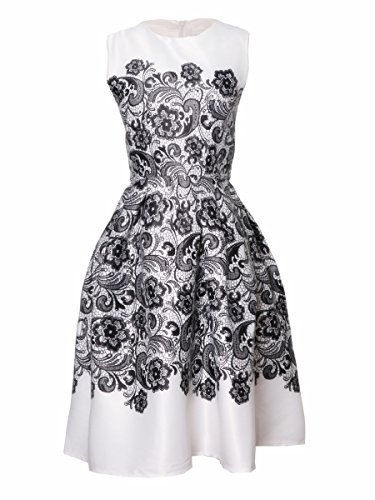 HaboZoo Womens Applique Stain Crewneck Sleeveless Pouf Princess Dress White M