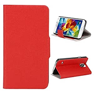 Oracle Texture Side Opening PU Leather Protective Case with Card Slot for Samsung S5 Red