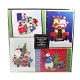 Christmas Card Collection - 24 Handmade Christmas Cards With Self-Sealing Envelopes, 4 Different Designs, Joyful Santa Collection