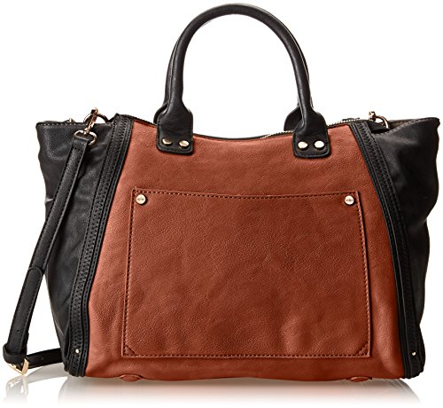 Co-Lab by Christopher Kon Two Tone Top Handle Bag,Cognac,One Size