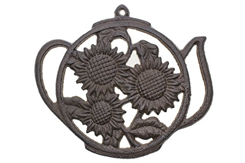 Why Choose Cast Iron Trivet | Round with Sunflowers And Tea Pot | Decorative Cast Iron Trivet For Ki...