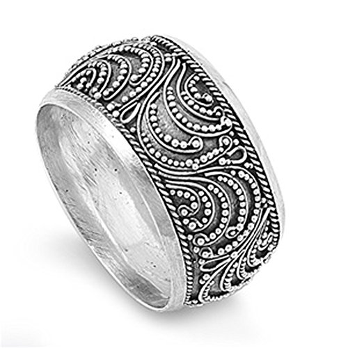 Sterling Silver Womans Handmade Oxidized Bali Ring Classic Band 12mm Size 11