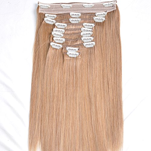 Clip In Sets 10pcs Clip In Human Hair Extensions #27 Honey Blonde Remy Human Hair Straight For Full Head 20inch 200g Weight (Ch Red Women compare prices)