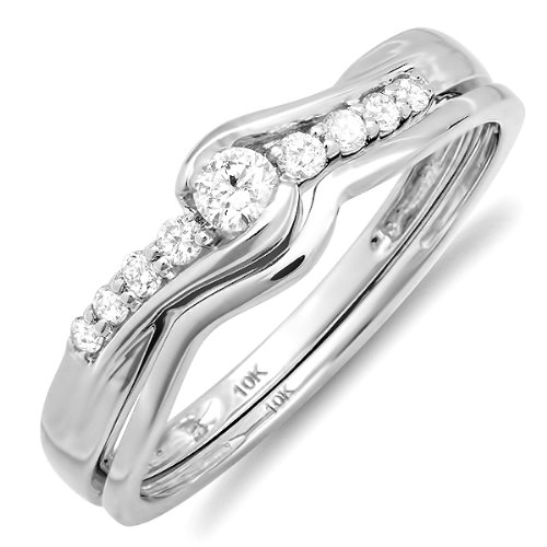10k White Gold Round Diamond Ladies Bridal Promise Engagement Wedding ...