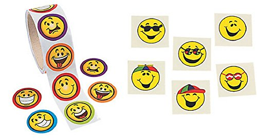 Goofy Smile Face Stickers and Tattoos (172 Pieces) - 1