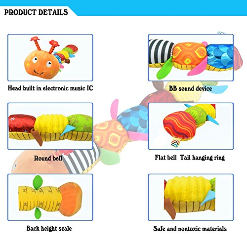 LIGHTDESIRE Musical Caterpillar Toy [Newest] Rattle with Ring Bell for Preschool