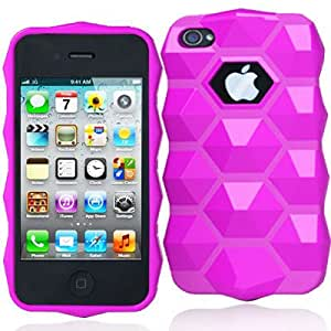 DECORO DHEXIP4HP Premium HEX Design TPU Case for iPhone 4/4S - 1 Pack - Retail Packaging - Hot Pink