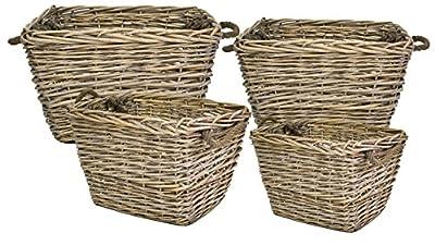 east2eden Driftwood Wash Grey Full Wicker Rectangle Storage Log Display Storage Basket with Rope Handle