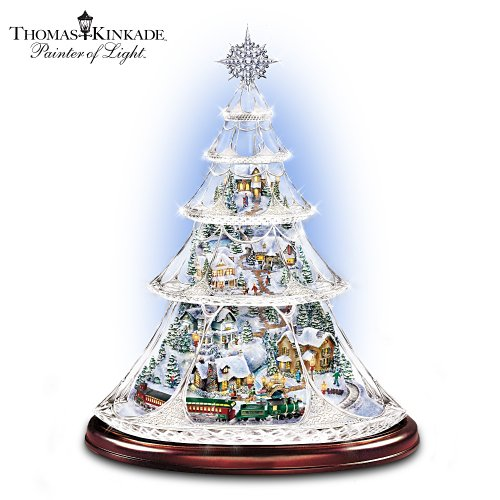 Thomas Kinkade Animated Crystal Tabletop Christmas Tree: Holiday Reflections by The Bradford Exchange