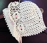 Hand Crocheted Baby Bonnet Hat Cap Christening