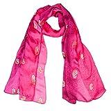 Ecowonder Women's Functional Medium 100% Premium Silk Scarf Red Gradient Embroidery Craft