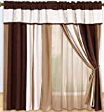 Luxury Brown, White Micro Suede Circle Patchwork Window Curtain / Drape Set with Sheer Backing-treatment Draperies