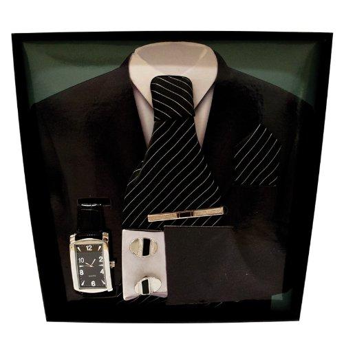 5 Piece Mens Gift Set - Tie, Watch, Cufflinks, Tie Bar & Hankerchief