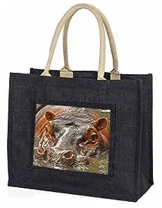 Hippopotamus, Hippo Large Black Shopping Bag Christmas Present
