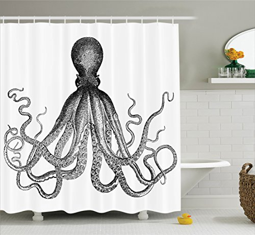 Octopus Sea Creature Monochrome Art, Polyester Fabric Bathroom Shower Curtain