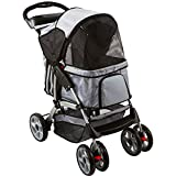 Black And Silver 4-Wheel Night Rider Pet Stroller Jogger
