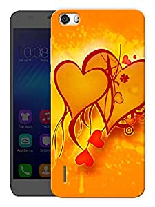 """Humor Gang Hearts In Orange Printed Designer Mobile Back Cover For """"Huawei Honor 6"""" (3D, Matte, Premium Quality Snap On Case)"""