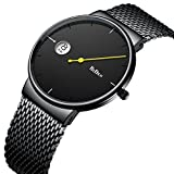 Watches,Mens Watches,Cool Simple Style Wrist Watch Brief Vogue Watch With Calendar For Men Thin Milanese Mesh Band Wrist Watch
