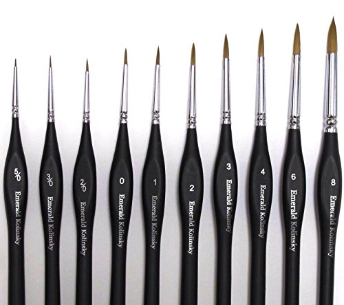 Best Professional Siberian Kolinsky Sable Detail Paint Brush, Value Set of 10, High Quality Miniature Brushes Will Keep a Fine Point and Spring, For Watercolor, Oil, Acrylic, Nail Art & Models (Paint Brush Detail compare prices)