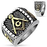 T7 Mens Stainless Steel Masonic Ring Mason Freemason Blue Lodge Square and Co...