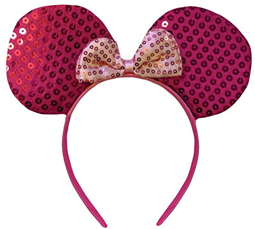 Hot Pink Sequin Minnie Mouse Sparkling Ears Fancy Dress Headband